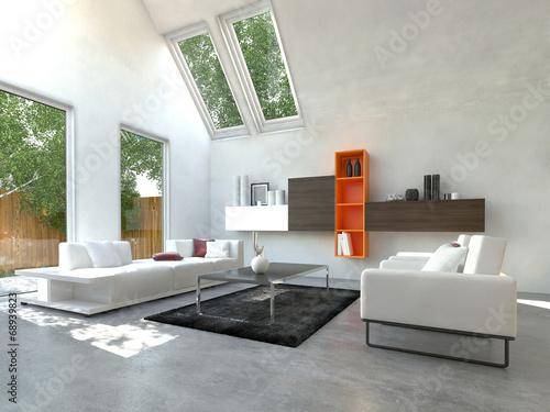 modernes wohnzimmer mit orange farbenem b cherregal stockfotos und lizenzfreie bilder auf. Black Bedroom Furniture Sets. Home Design Ideas
