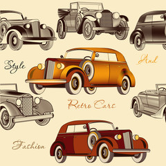 Stylish seamless wallpaper pattern with retro cars