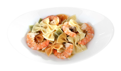 Fresh prawns with coloured macaroni in a white oval bowl