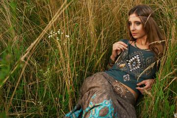 hippie lady in the fields