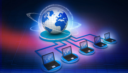 global computer network on digital background.