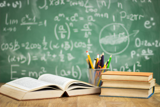 School books on desk