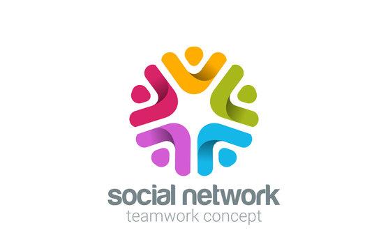 Social Team Network Logo design vector. Teamwork logotype