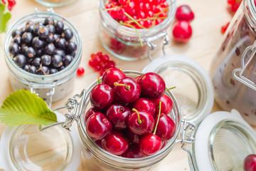 Top view summer fruits prepared Preserving