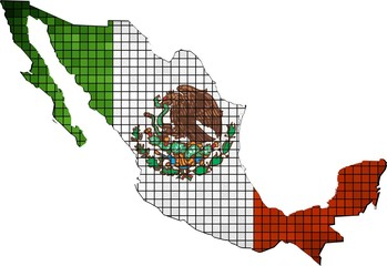 Mexico map grunge mosaic