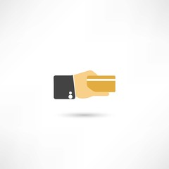 credit card in a hand icon