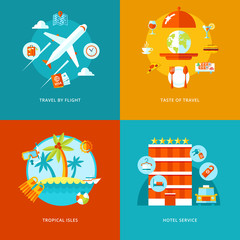 Vector travel and tourism icons set.