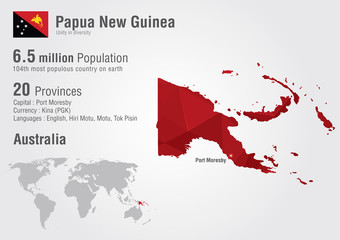 Wall Mural - Papua new guinea world map with a pixel diamond texture.