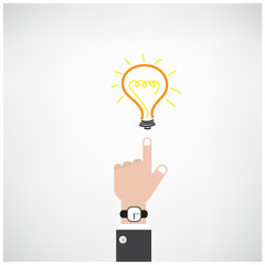 businessman hand with doodle light bulb sign