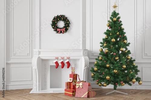 weihnachtsbaum mit geschenken neben kamin zu weihnachten. Black Bedroom Furniture Sets. Home Design Ideas