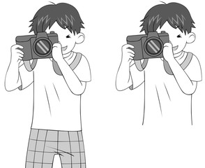 Black and white sketch of a cartoon guy character photographing