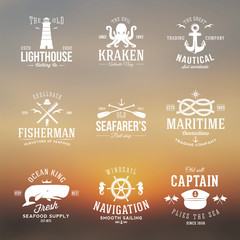 Set of Vintage Nautical Labels or Signs With Retro Typography on