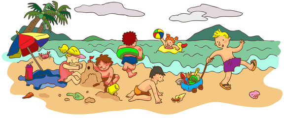Group of children playing on the beach in summer holiday