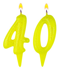 Birthday candles number forty isolated on white background