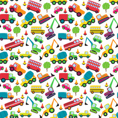 Transportation Themed Seamless Tileable Background Pattern