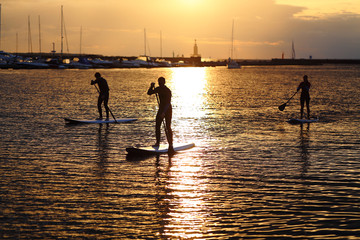 Stand-up paddler silhouettes at sunset