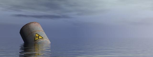 Radioactive barrel in the ocean - 3D render