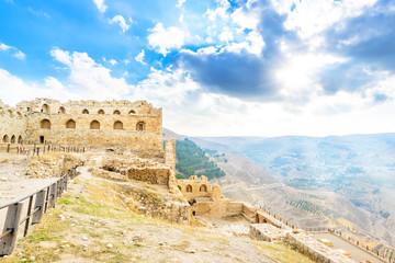 Fotobehang Kasteel Landscape castle prospects Jordanian mountains at Kerak Castle
