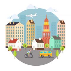 Beautiful Colored Vector City Street Design