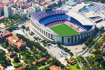 Aluminium Prints Barcelona Largest stadium of Barcelona from helicopter. Catalonia
