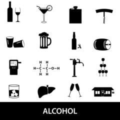 alcohol icons set eps10