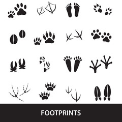 basic animal footprints set eps10