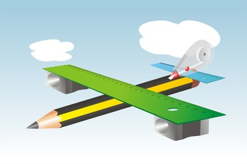 Avión y material escolar