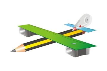 Avión y material escolar sin fondo