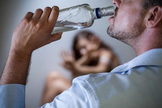 Violent husband with alcoholic problem