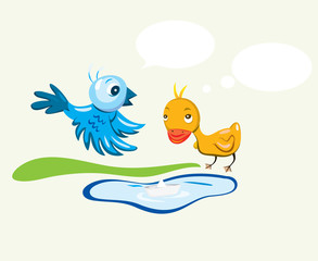 Bird and duck cartoon, art vector design