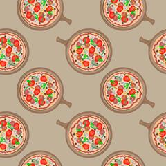 Seamless colorful cartoon pizza texture