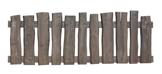 Old wooden fence isolated with clipping path included
