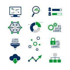 Data analytic icons set