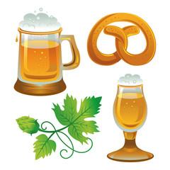 Beer set. Collections for Oktoberfest. Beer, hops and pretzel