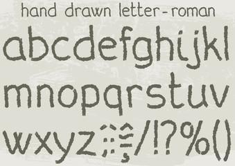 Roman version of a hand drawn alphabet