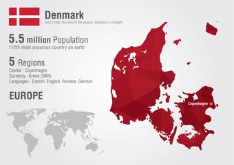 Wall Mural - Denmark world map with a pixel diamond texture.