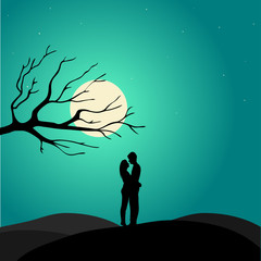Two enamored under a love tree, illustration.