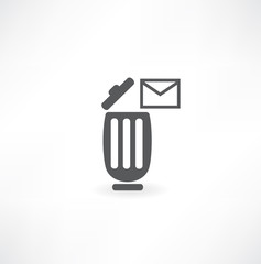 a single mail icon in a trash