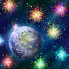 Earth in space with fireworks