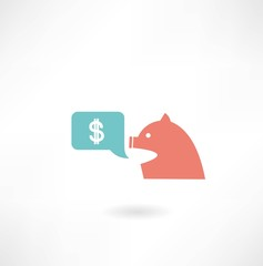 pig with money icon icon