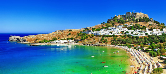 scenic Rhodes island, Lindos bay. Greece Wall mural