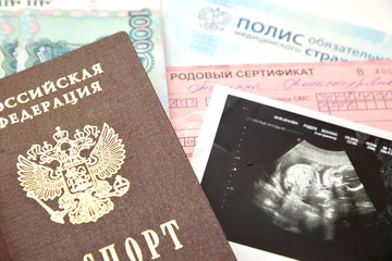 Documents necessary at childbirth, and picture of ultrasonograph