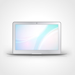 Light laptop with wallpaper isolated on white