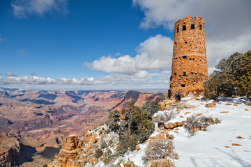 Tourist at Desert View Watchtower Grand Canyon in Winter