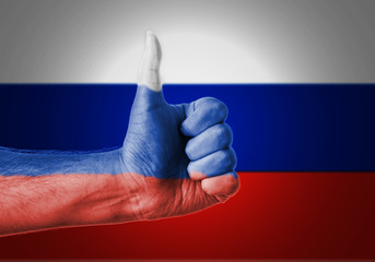 Flag Of Russia Painted On A Man's Hand