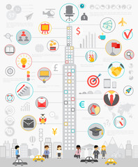 Wall Mural - Business Infographic set with charts and other elements.