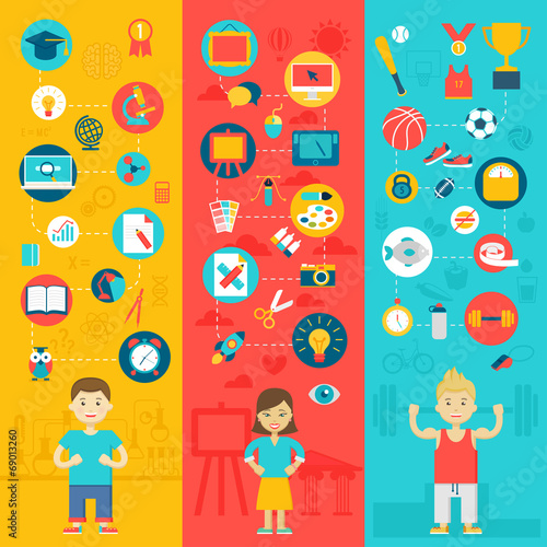 Wall mural Education icons.