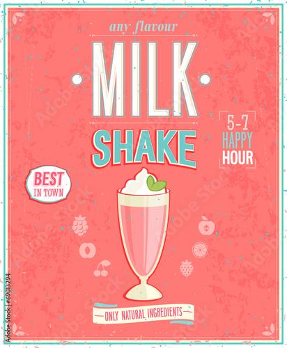 Wall mural Vintage MilkShake Poster.