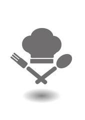 Vector icon - a chef's hat and crossed spoon and fork