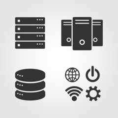 Computer Server icons set, flat design